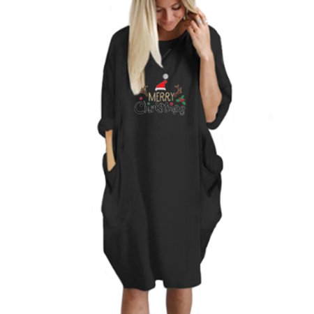 Women Christmas Xmas Jumper Oversized Baggy Pocket Pullover Long Dress ()