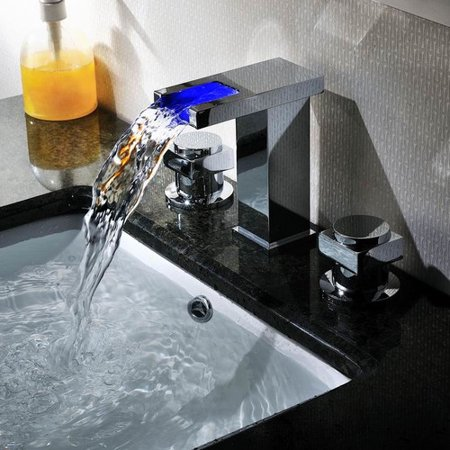 Sumerain International Group Widespread LED Waterfall Bathroom Sink (Color Changing Led Waterfall Widespread Bathroom Sink Faucet)