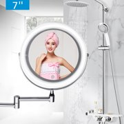 7''/6'' 10X/3X Magnifying Touch LED Lighted Wall Mount Mirror 2 Side 360° Adjustable Cosmetic Makeup Mirror Brightness Silver for Travel Bathroom Home