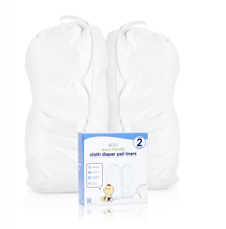 Ubbi Cloth Diaper Pail Liner, Twin Pack, White by Ubbi