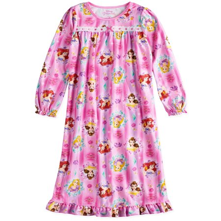 Disney Princess Girls Long Sleeve Granny Gown Nightgown Pajamas - Princess Night Gown