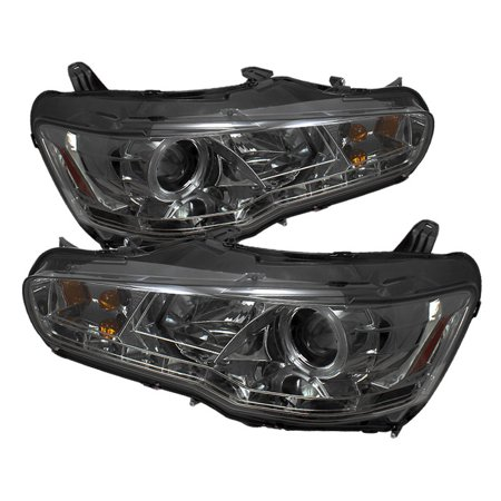 - Spyder Mitsubishi Lancer / EVO-10 08-14 Projector Headlights - Halogen Model Only ( Not Compatible With Xenon/HID Model ) - LED Halo - DRL - Smoke -