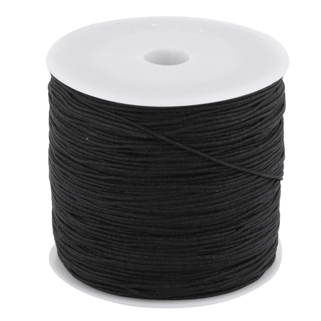 Nylon Chinese Knot DIY Handcraft Braided Cord String Black 0.8mm Dia 110 Yards