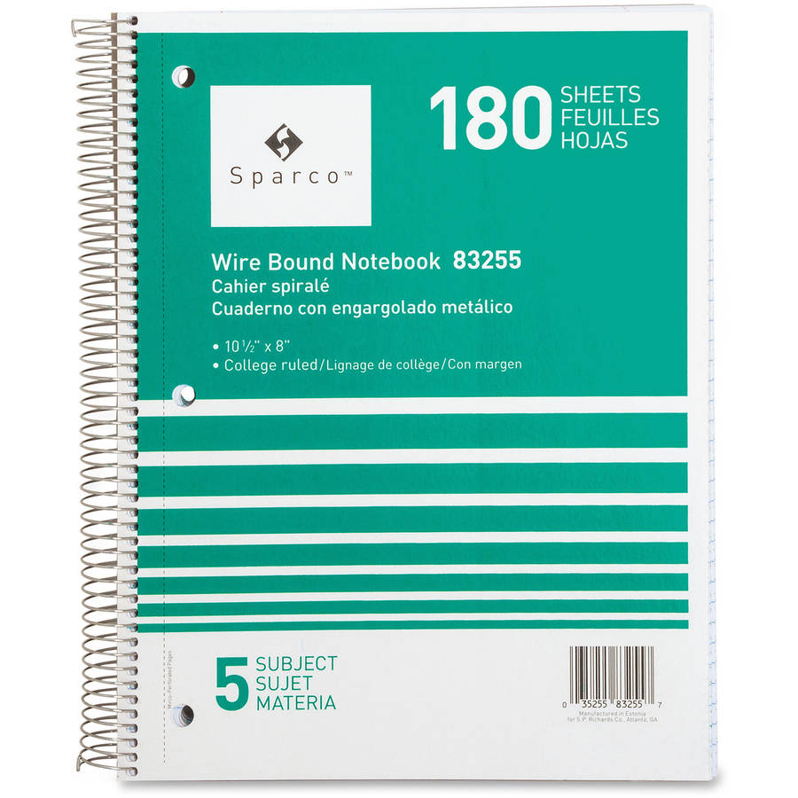 Sparco Quality Wirebound 5-Subject Notebook, Assorted Colors