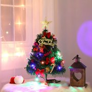 Artificial Pine Tree With Golden Star Topper And Small Christmas Ornaments LED Light Up Xmas Tree Holiday Gift Tabletop Decor