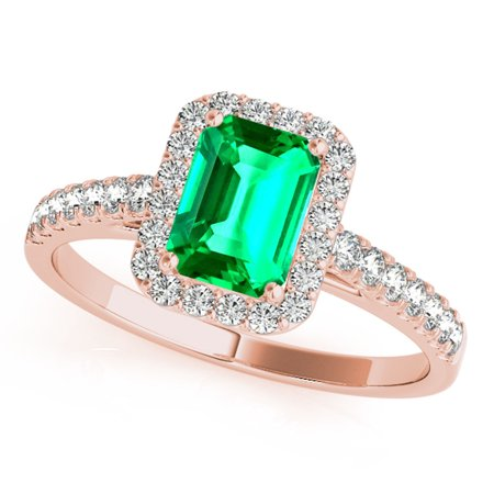 0.75 Ct. Ttw Stylish Look Diamond And Emerald Shape Emerald Ring In 10k Rose Gold