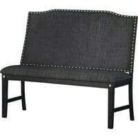 Best Quality Furniture Dining Bench with Backrest, Nail Head Trim, Dark Gray or Dark Beige