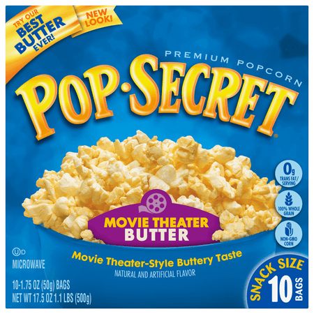 Pop Secret Microwave Popcorn Movie Theater Butter, Snack Size 1.75 oz Bags, 10 Count for $<!---->