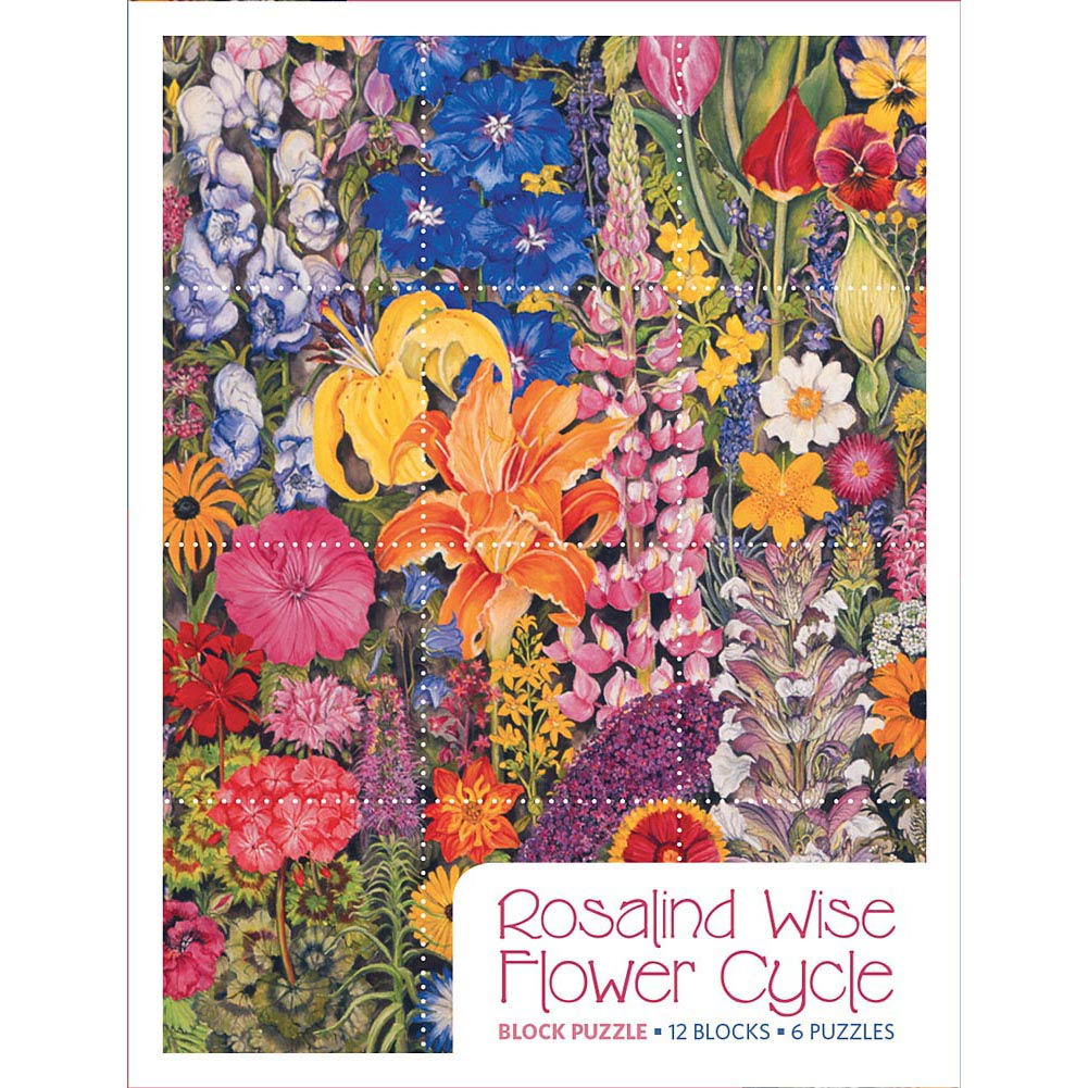 Rosalind Wise Flower Cycle 12 Piece Block Puzzle,  Flower Art by Pomegranate