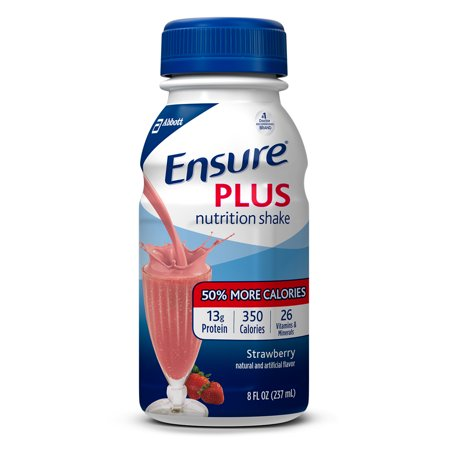 Ensure Plus Nutrition Shake With 13 Grams Of High Quality Protein  Meal Replacement Shakes  Strawberry  8 Fl Oz  24 Count
