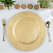 """Efavormart 13"""" Round Wooden Textured Acrylic Charger Plates Wedding Party Dinner Servers - Set of 6"""