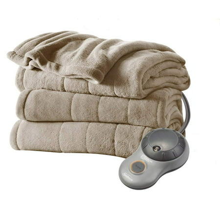 Sunbeam Heated Electric Microplush Blanket with 10 heat settings, Twin, Beige