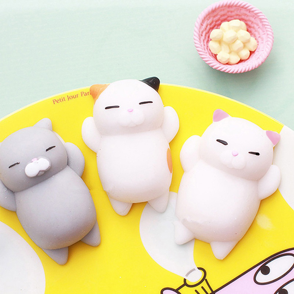 Girl12Queen Cute Cartoon Cat Squishy Toy Stress Relief Soft Mini Animal Squeeze Toy Gift