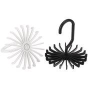 Adjustable Rotating 20 Hook Neck Ties Organizer Twirling Tie Rack Hanger Holder (Black / White)