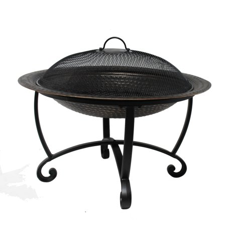 Island Retreat Riverside 29-in Wood Fire Pit Set - Heavy-Gauge Steel with Copper Finish, Spark Screen, Dual-Use
