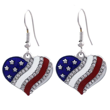 cocojewelry USA American Flag Heart Dangle Hook Earrings Independence Day Jewelry