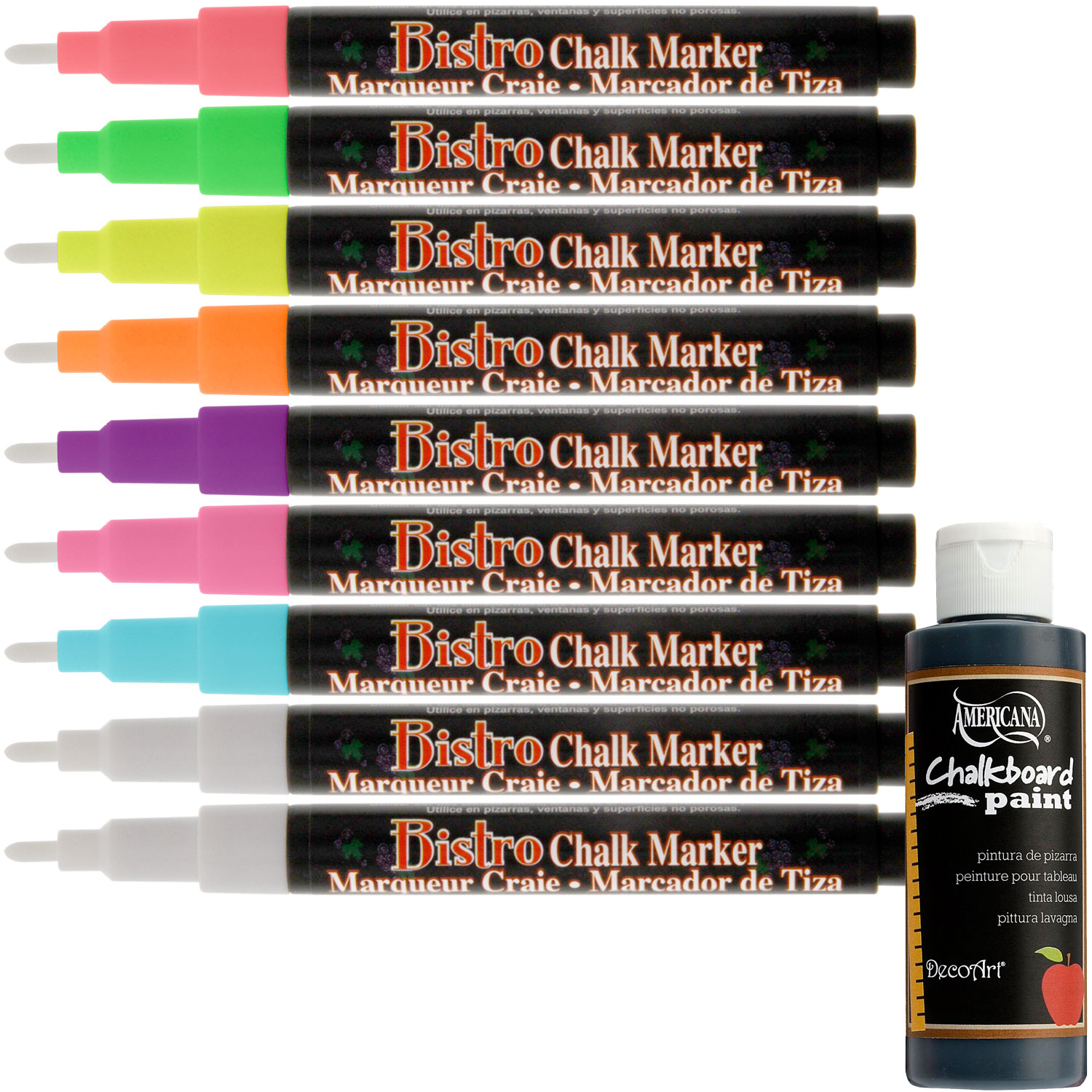 Uchida BISTRO CHALK MARKERS Fine Point 9 Fluorescent Color Set 3mm Chalkboard