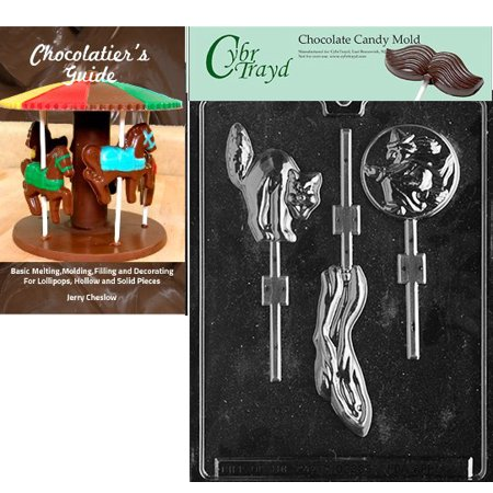 Cybrtrayd Ghost/Cat/Witch Lolly Halloween Chocolate Candy Mold with Our Chocolatier's Guide Instructions Manual