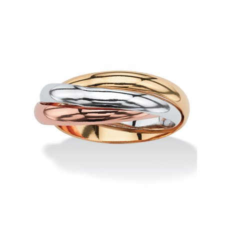 - Interlocking Rings in Tri-tone Rose Gold-Plated, 18k Gold-Plated and Silvertone