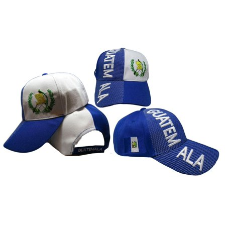Guatemala Country Letters Emblem Royal Blue White 3-D Embroidered Cap Hat