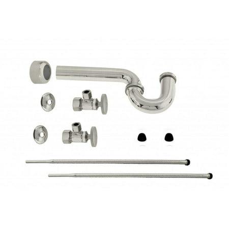 Westbrass D1538L Standard Pedestal Lavatory Supply Kit - Round Handles in Satin - Console Lavatory Kit