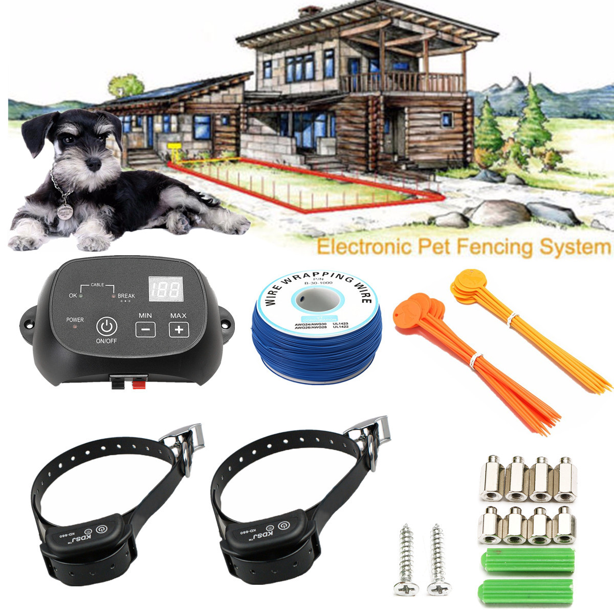 wireless nowire remote electronic pet 2 dog fence waterproof 2 collars fencing training