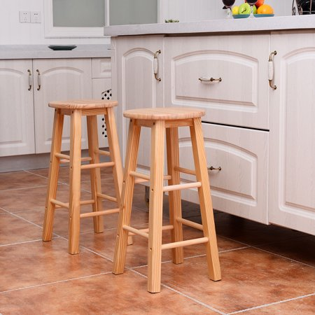 Costway Set of 2 Round 24'' Bar Stools Wood Bistro Dining Kitchen Pub Chair Furniture ()