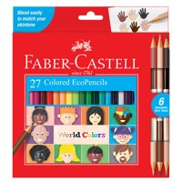 Faber-Castell World Colors Colored Pencils for Kids, 15 Count - Includes 3 Duo Tone Skin Shades