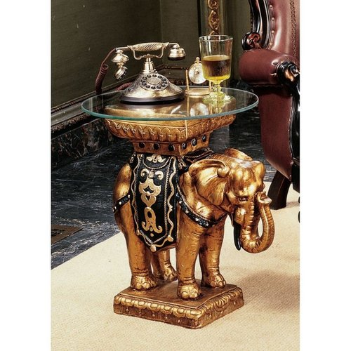 Maharajah Golden Elephant Table Design Toscano Elephants 203Cm  Glass Top Tables
