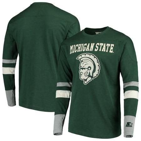 Michigan State Spartans Starter Old School Football Long Sleeve T-Shirt - Green/Gray