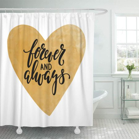 PKNMT Forever and Always Calligraphy and Brush Pen Lettering with Gold Watercolor Bathroom Shower Curtains 60x72 (Best Brush Pens For Lettering)