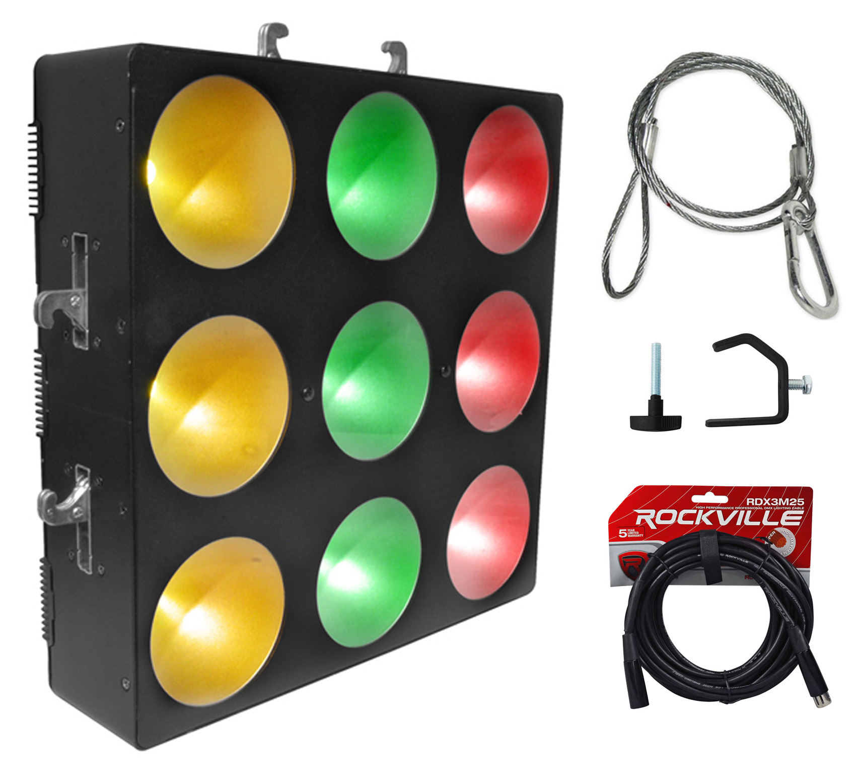 Chauvet DJ CORE 3x3 COB LED Pixel Mapping Wash Light+Clamp+Harness+DMX Cable