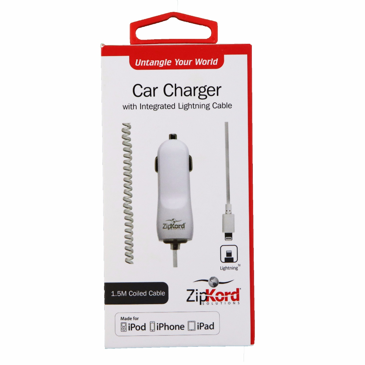 ZipKord 2.4A Coiled Car Charger w/ Apple Lightning Connector White iPhone X 8 7