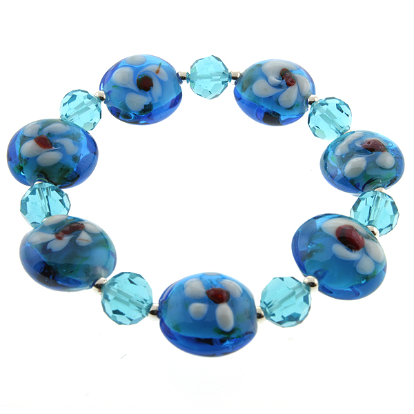 "7.5"" Blue Color Stretchable Handcrafted Murano Glass Beads Adjustable Bracelet"