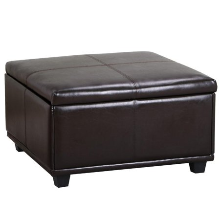 Yaheetech Large Square Faux Leather Ottoman Storage Table Upholstered Bench Brown
