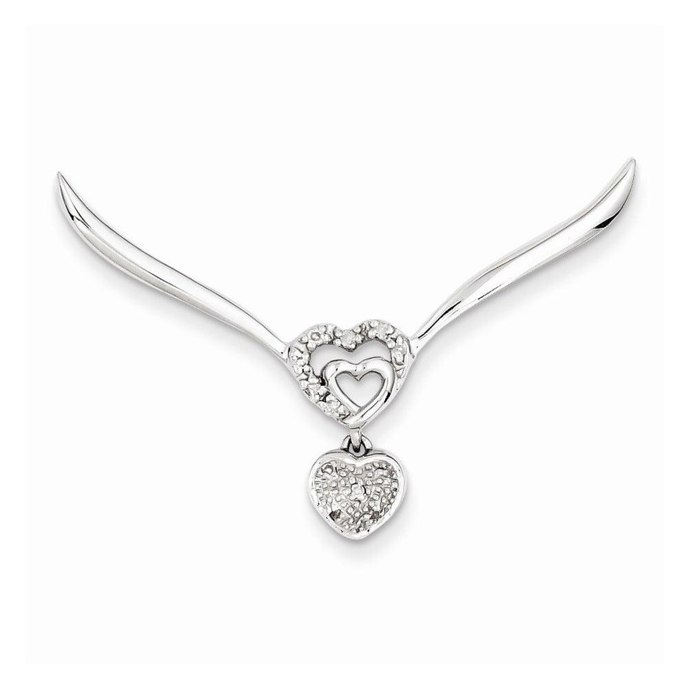 Sterling Silver Rhodium Plated Diamond Heart Pendant Slide. Carat Wt- 0.05ct