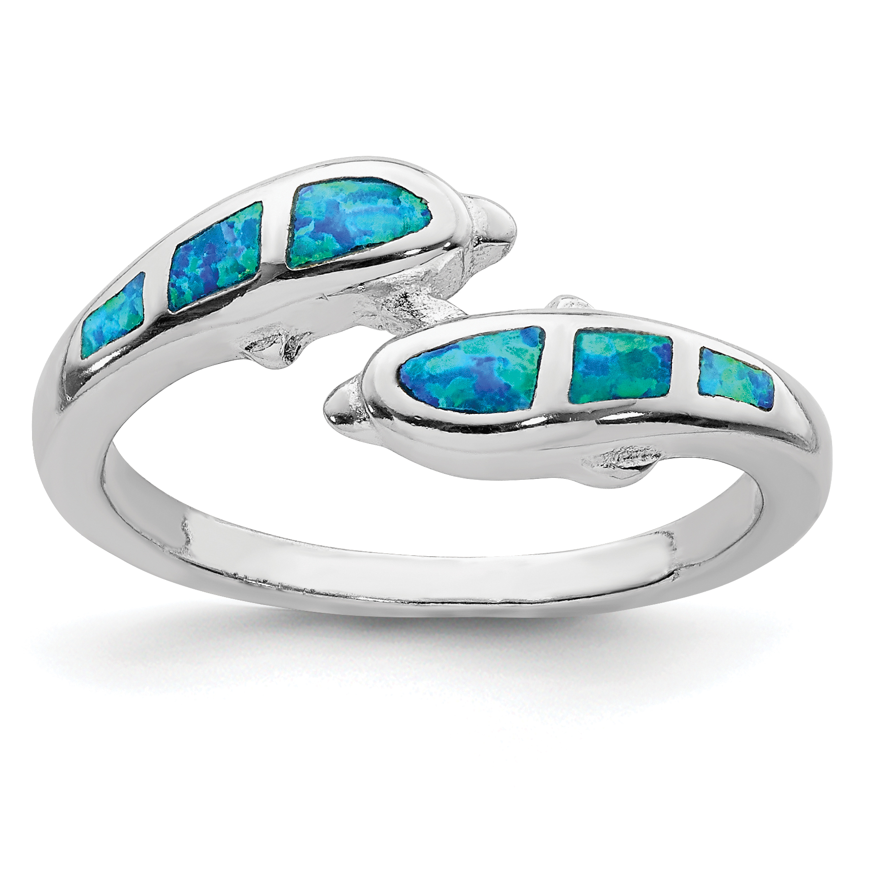 925 Sterling Silver Created Blue Opal Dolphins Band Ring Size 6.00 Sea Shell Life Fine Jewelry Gifts For Women For Her - image 2 de 2