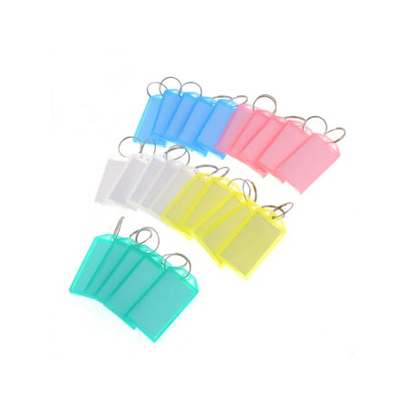 25 Pcs Colored Plastic Rectangle Keychain Key Tags ID Label Name Tag Ring ()