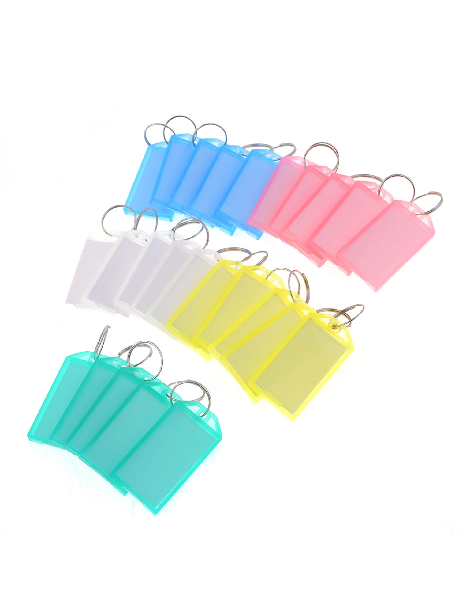 25 Pcs Colored Plastic Rectangle Keychain Key Tags ID Label Name Tag Ring