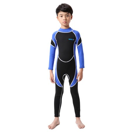 Kids Neoprene Diving Wetsuit Boys Girls Swimsuits Long Sleeve UV Protection Back Zipper Swimwear