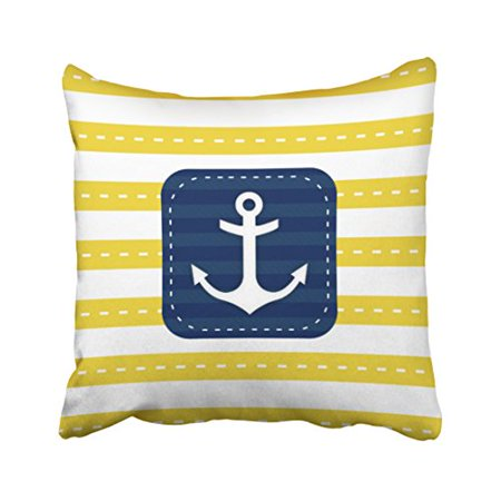 RYLABLUE Square Throw Pillow Covers Retro Nautical Yellow Stripes Navy Blue Banner Anchor Pillowcases Polyester 18 X 18 Inch With Hidden Zipper Home Sofa Cushion Decorative Pillowcase - image 1 of 1