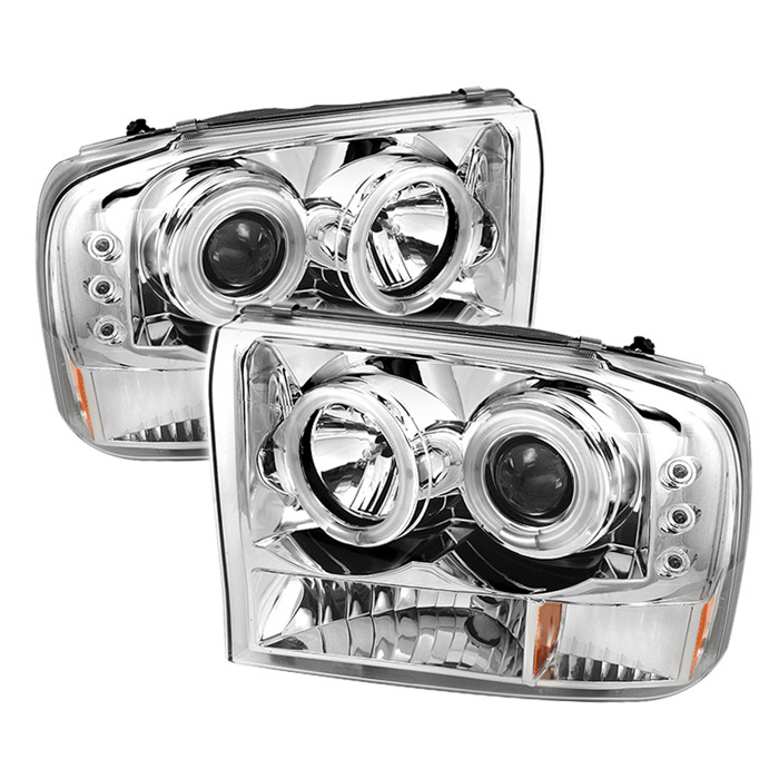 Spyder Ford F250 Super Duty 99-04 / Ford Excursion 00-04 1PC Projector Headlights - Version 2 - CCFL Halo - LED ( Replaceable LEDs ) - Chrome - High