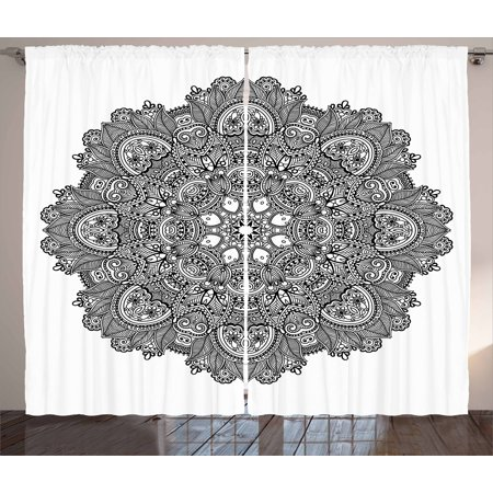 Lotus Curtains 2 Panels Set, Ornamental Mandala with Lace Pattern Featured Mixed Flower Petals Ethnic Folk Design, Window Drapes for Living Room Bedroom, 108W X 96L Inches, Black White, by Ambesonne