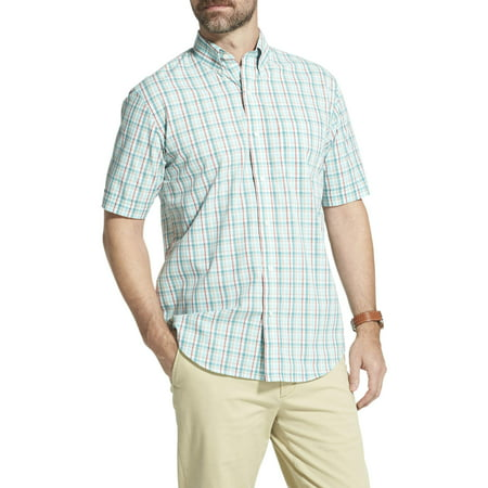 Men's Arrow Hamilton Poplin Plaid Short Sleeve Button Down Shirt
