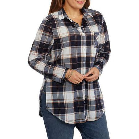 Womens Plus Plaid Button Down Tunic Shirt with Crochet Back