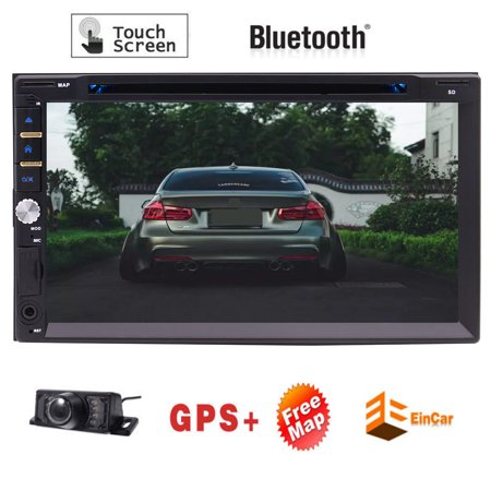2 DIN 7inch high definition full touch capacitive touch screen Car Stereo GPS Navigation Radio Receiver Touch Screen Vehicle Head Unit FM/AM RDS Radio/Bluetooth/USB + Free Gift: Back-up Camera.