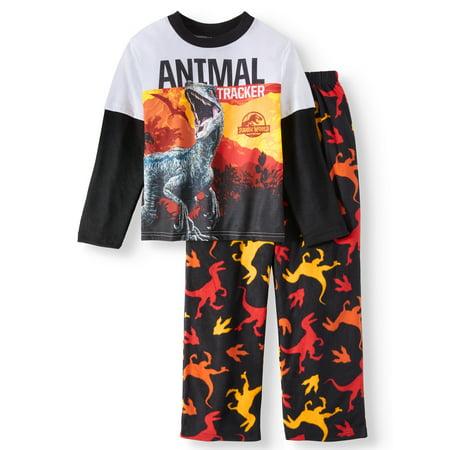 Jurassic Park Jurassic World Boys' 2-Piece Long Sleeve Pajama Sleep - Boys Skeleton Pajamas