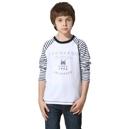Leo&Lily boys' Long Sleeve Contrast Color Pullover Print T-Shirt