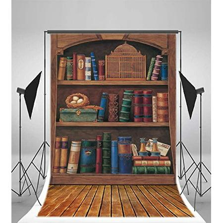 HelloDecor Polyster Photography Retro Bookshelf Backdrop 5x7ft Books Eggs Birdcase Wooden Floor Background Children Kids Baby