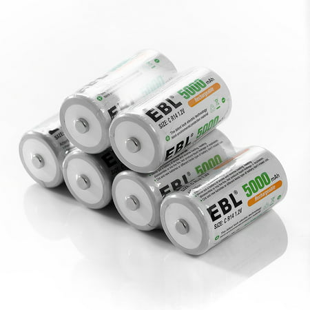 EBL 6-Pack 1.2v Size C Battery 5000mAh Ni-MH Rechargeable Batteries ()